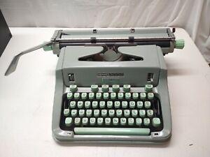 Hermes 3000 Vintage Portable Typewriter Switzerland Sea Foam Green 1960s   q