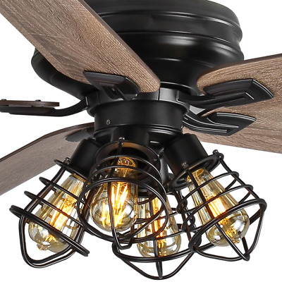 60 Large Unique Ceiling Fan Remote Steampunk Cage Branch Light Rustic Farmhouse Ebay