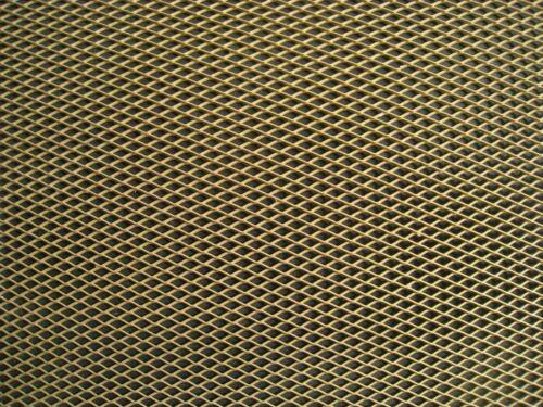 Expanded metal plate gold anodized aluminum 33 cm x 20 cm.