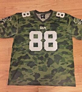 a5e6b6eec0d A Bathing Ape BAPE 88 First Camo Football Jersey sz XL | eBay