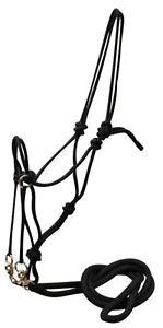Showman-BLACK-Nylon-Rope-Bit-Less-Bridle-With-Nylon-Reins-WESTERN-HORSE-TACK