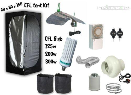 Complete CFL Hydroponic Grow Room Wardrobe Tent Fan Filter Light Kit 60x60x160