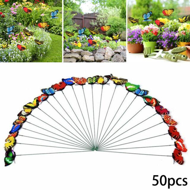 50 Pcs Butterfly Garden Metal Stake Patio Lawn Yard Art Planter Flower Pot-Decor
