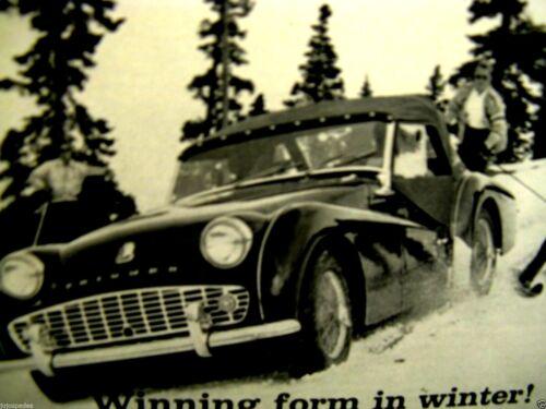"""1960 Triumph TR 3 Winning Form In Winter-Original Print Ad 8.5 x 11/"""""""