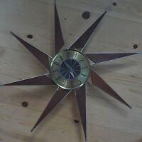 VINTAGE ELGIN WOOD BRASS STARBURST SUNBURST CLOCK MID CENTURY MODERN EAMES ERA