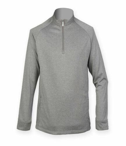 Henbury Ribbed Inner Fleece SIZES XS-XXL Mens Zip Neck Lightweight Top