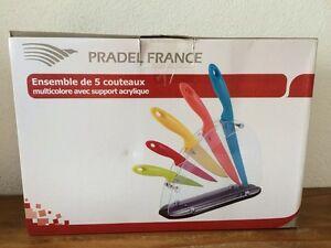 Bel-ensemble-de-5-couteaux-multicolore-PRADEL-avec-support-neufs-dans-la-boite