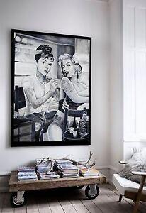 xxl leinwand 135x100x5 audrey hepburn u marilyn monroe bild ikea schwarz weiss ebay. Black Bedroom Furniture Sets. Home Design Ideas