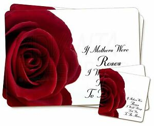 'if Mothers Were Roses' Sentiment Twin 2x Placemats+2x Coasters Set In , Mum-1pc