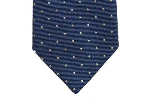 wool//silk Battisti Tie Medium blue with white polkadots