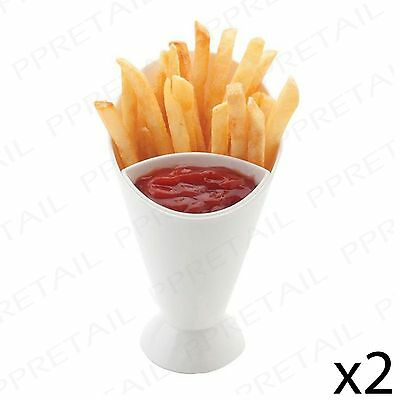 2 x FINGER FOOD CONE + SAUCE POT Snack/Dip/Party/Cheese/Fries/Fry/Serving/Holder