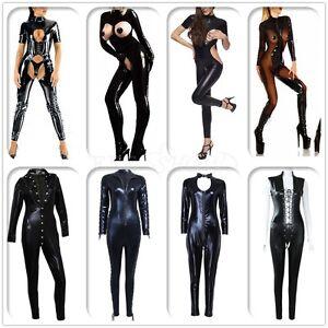 Womens-Sexy-PVC-Leather-Wetlook-Catsuit-Lady-Jumpsuit-Bodysuit-Clubwear-Lingerie