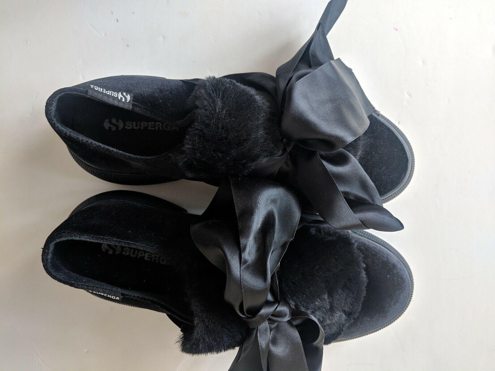 Superga Velvet Fur Flatforms With Bow - Size 40