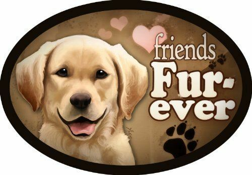"""/""""Friends Fur-ever/"""" Oval Dog Magnet for Cars and Fridges Yellow Lab"""