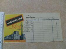 Alter Rechnungsblock Rechnung Quittung Blanko Hanewacker Nordhausen