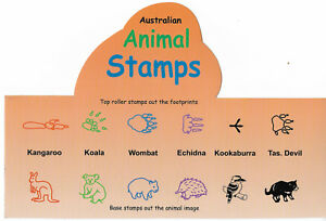 AUSTRALIAN-ANIMAL-STAMPS-Animal-amp-Footprint-STAMPERS-Set-of-8-Aussie-ANIMALS