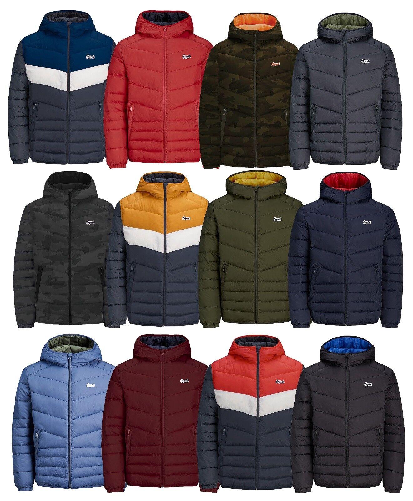 JACK & amp;JONES Mens Quilt Puffer Jacket Manteau d extérieur à capuche chaud légèrement rembourré