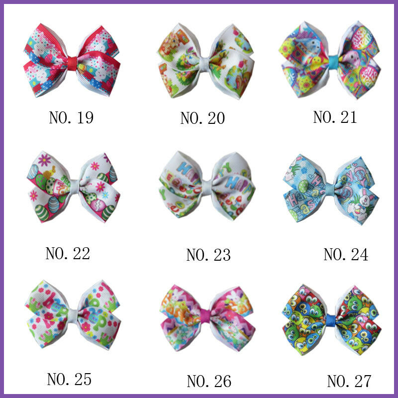 "100 BLESSING Girl 4.5/"" Angel Hair Bow Clip 4.5/"" Rainbow Easter Christmas Custom"