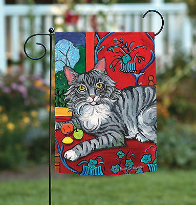 Toland Van Meow Tabby Kitty 12.5 x 18 Starry Night Cat Portrait Garden Flag