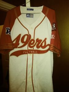 info for 1578c 6235e Details about Vintage San Francisco 49ers Throwback Script Baseball Starter  Jersey Large! Whit
