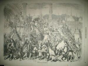INDE-FETE-MOHARRUM-ELEPHANTS-BANIANS-COMPIEGNE-CHASSE-LEVRIERS-U-K-GRAVURE-1857