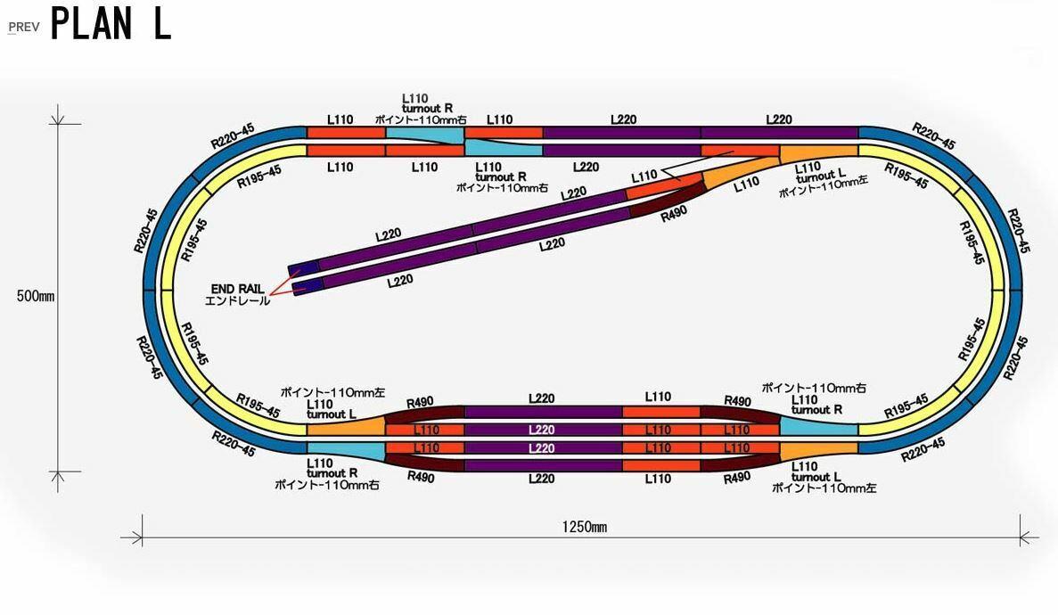 Plan de diseño de vías  L  completo conjunto de pista (49.2  X 19.6 )
