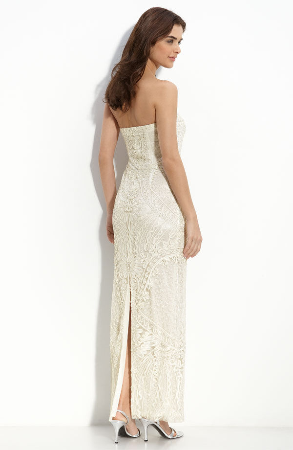 NWOT  Sue Wong Embellished Strapless Column Gown`Ivory`   Size 2