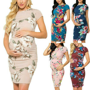 Women-Maternity-Party-Floral-Print-Short-Sleeve-Bodycon-Dress-Pregnancy-Clothes