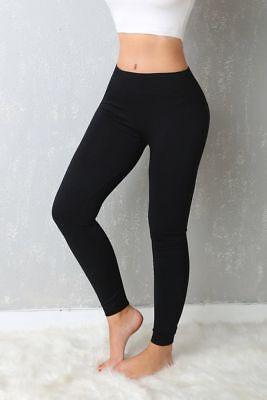 Women Seamless Fitted Leggings Control Pants Small Medium Black Soft Yoga Soft