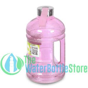 Details about Half Gallon 64oz BpA Free Drinking Water Bottle 2 Liter  Handle Steel Cap Pink