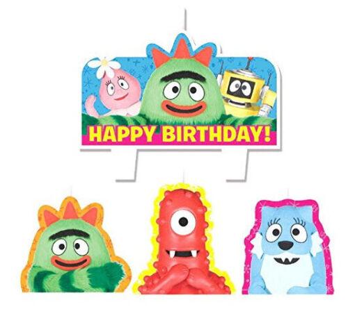 YO GABBA GABBA  Birthday party molded cake cupcake CANDLES supplies 4pcs Muno