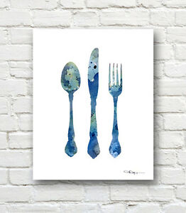 Outstanding Details About Knife Fork Spoon Abstract Watercolor Painting Kitchen Art Print By Artist Djr Complete Home Design Collection Epsylindsey Bellcom