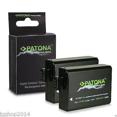 2 Batterie Lp-e5 Premium 1020 Mah Canon Eos 1000d Batteria Di Patona Laatste Stijl
