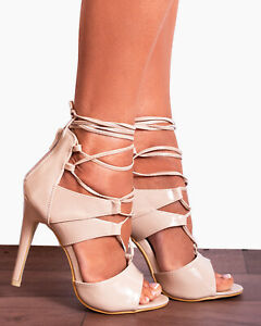 Details zu NUDE PATENT LACE UPS PEEP TOES STILETTOS STRAPPY SANDALS HIGH HEELS SHOES SIZE