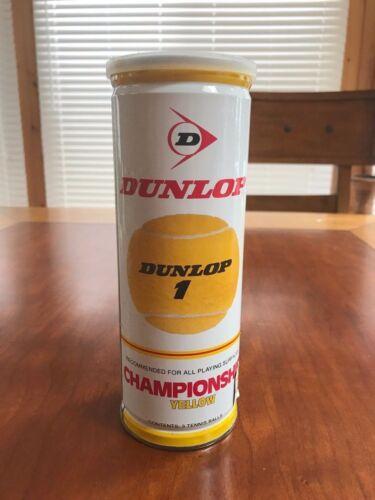 Still Sealed Vintage Dunlop Championship YELLOW 3 Tennis Balls Can