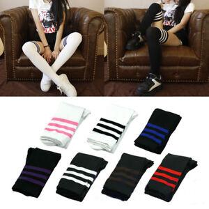 Fashion-Girls-Women-Stripe-Cotton-Over-Knee-Socks-Thigh-High-Stockings-Long-Sock