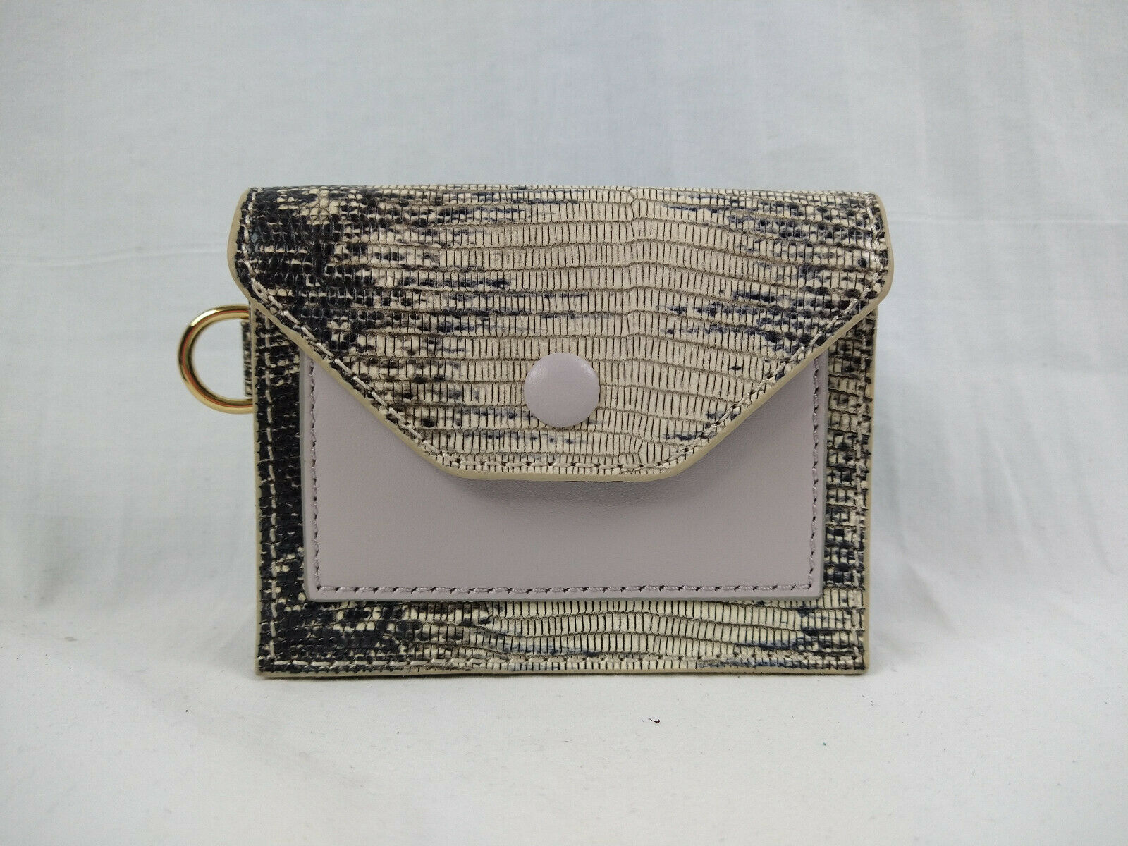 LOGO by Lori Goldstein Natural Snake Embossed Small Wallet with RFID