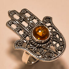 HAND DESIGN BALTIC AMBER MASSIVE .925 SILVER EABY STORE RING SIZE- 7.25''