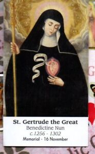 Saint-St-Gertrude-the-Great-Prayer-2-x-3-5-034-Heavy-Paperstock-Holy-Card