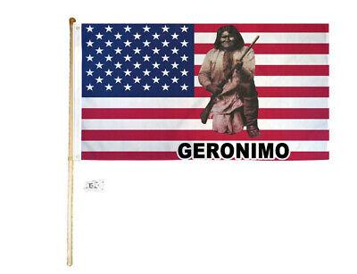 5' Wood Flag Pole Kit Wall Mount Bracket With 3x5 Usa Geronimo Polyester Flag Bekwame Productie