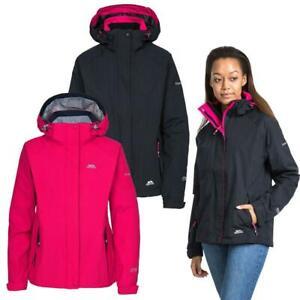 Trespass Florissant Womens Waterproof Jacket Black Navy Rain Coat with Hood