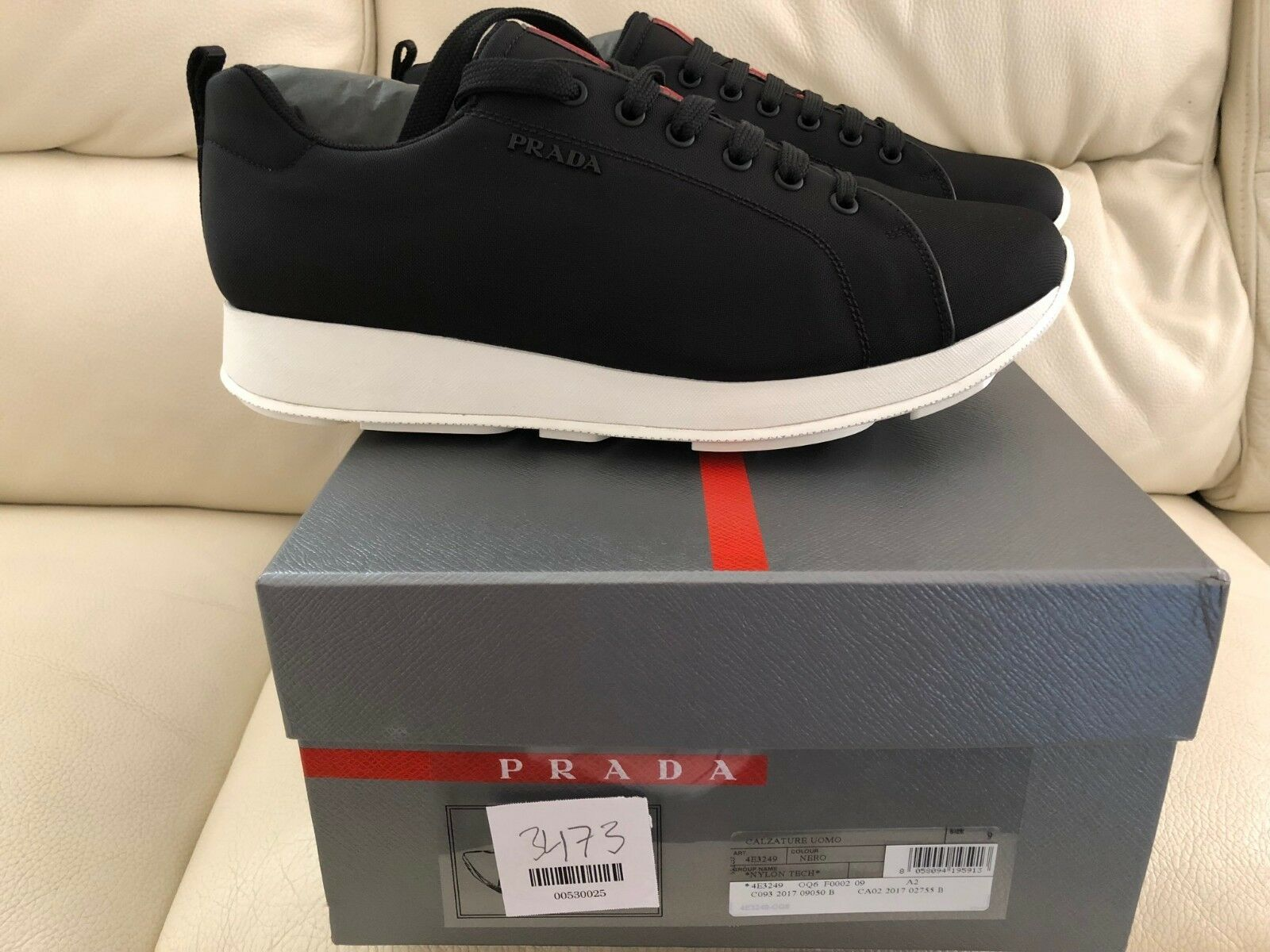 PRADA BEIGE   BEIGE Herren BLACK Weiß CANVAS TRAINERS SIZES UK 7 7.5 9 NEW e0a4e6