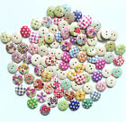 Popular 100pcs 15mm Mixed Round Pattern 2 Holes Wood Buttons Sewing Scrapbooking