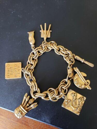 Vintage 1950's/1960's Era Gold Artist Charm Bracel