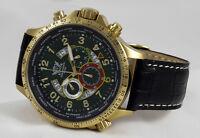 Luxus Chronograph Cavadini Uhr Tachymeter Drehbare Ring Ip-gold Plat.grün Ziffer