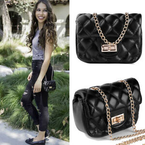 Black Mini Quilted Crossbody Bag Purse Shoulder