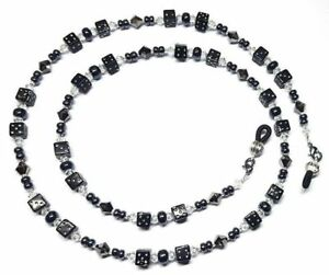 9bb8dd31c98e Image is loading Silver-Night-Austrian-Crystal-Black-Dice-Eyeglass-Chain-