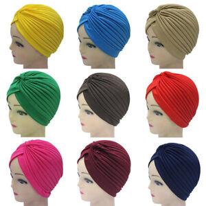 452b953152e51 Women Solid Turban Hijab Chemo Muslim Hat Head Wrap Stretchy ...