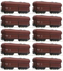 Roco-H0-56333-S-Selbstentladewagen-mit-Kohleeinsatz-der-DR-10-Stueck-NEU-OVP