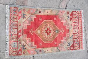 Small-Turkish-Old-Anatolian-Oushak-Pastel-Red-Multicolor-Oriental-Rug-1-039-8x2-039-11